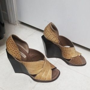 MARC JACOBS Croc High Heel Wedges Strappy Sandals